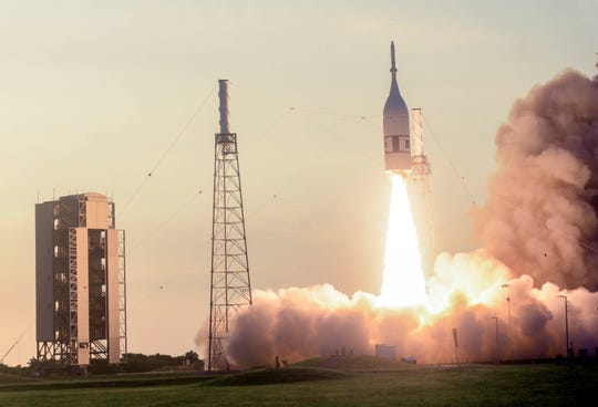 The Orion capsule lifts off from Pad 46 at Cape Canaveral Air Force Station in a test of its launch abort system Tuesday morning, July 2, 2019.