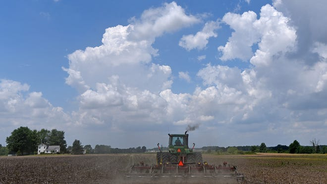 A farmer clears a corn field near Biddle Road between Galion and Bucyrus on Tuesday afternoon under a blue sky and puffy white clouds. After heavy rains in the spring and early summer, area farm fields are finally dry enough for planting.