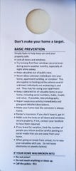 Each flier comes equipped with these safety tips Burlington residents can follow to keep their homes safe.