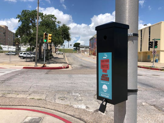 A sidewalk butler was installed on the corner of Taylor and Mesquite Streets in downtown Corpus Christi.