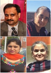 Four members of a Sikh family were shot and killed in their West Chester home April 29. Clockwise from top left: Haikkat Singh, Paramjit Kaur, Shalinda Kaur and Amarjit Kaur.