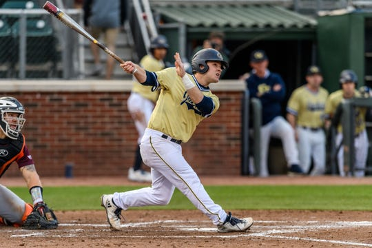Luke Waddell connects for Georgia Tech against Virginia Tech. Danny Karnik,/GT Athletics