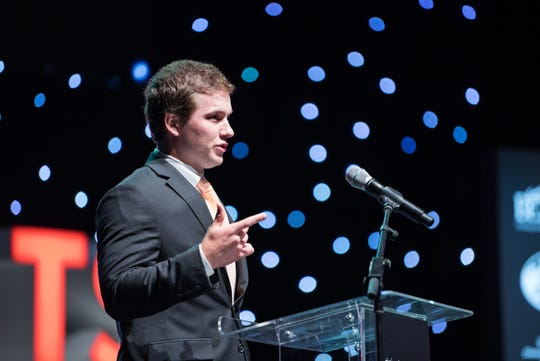 Baseball Player of the Year, Loveland Senior, Luke Waddell accepts his award at the 2017 Cincinnati.com Sports Awards at the Aronoff Center on Monday May 22, 2017.