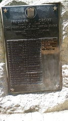 The plaque in Presidential Grove in Eden Park was recently vandalized.