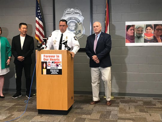 West Chester Police Chief Joel Herzog (center) and Butler County Prosecutor Mike Gmoser (right) announced Tuesday that Gurpreet Singh was arrested in connection to an April shooting that killed four members of a Sikh family. One victim was Singh's wife.