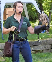 Becky Geiger of Miami Valley Falconry at a program earlier last week at Clary Gardens.