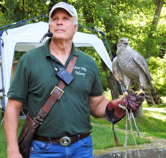 Doug Geiger of Miami Valley Falconry at a program earlier last week at Clary Gardens.