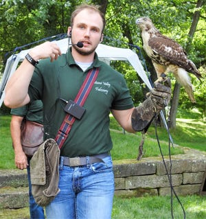 Adam McGuire of Miami Valley Falconry said he was encouraged to pursue the sport after a presentation when he was in fourth grade. He hopes to educate and encourage other children now with programs such as the one held last week at Clary Gardens.
