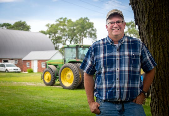 Aaron Lehman, president of the Iowa Farmers Union, stands for a photo on his farm in Northern Polk County Monday, July 1, 2019.