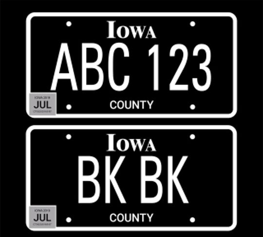 "As of July 1, 2019, special edition ""blackout"" license plates are available to Iowa drivers."