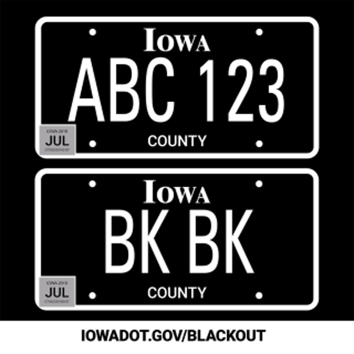 It's now easier than ever to get Iowa's blackout license plates