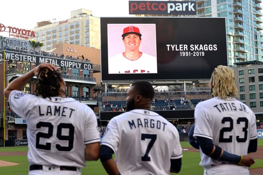 The San Diego Padres pay tribute to Los Angeles Angels pitcher Tyler Skaggs before a game against the San Francisco Giants at Petco Park. Mandatory Credit: Jake Roth-USA TODAY Sports