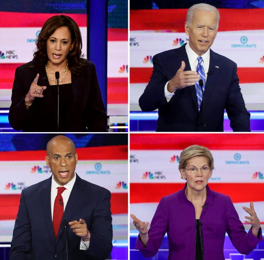 Clockwise from left, Democratic presidential hopefuls Sen. Kamala Harris D-Cali., former Vice President Joe Biden,  Sen. Elizabeth Warren D-MA and Sen. Cory Booker D-N.J. are likely to attend a presidential forum at the NAACP's 110th annual convention at Cobo Center.