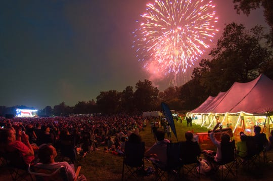 "The ""Salute to America"" concerts at Greenfield Village conclude with fireworks."