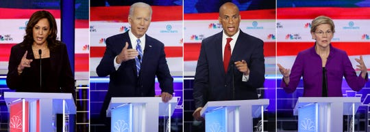 From left, Democratic presidential hopefuls Sen. Kamala Harris D-Cali., former Vice President Joe Biden, Sen. Cory Booker D-N.J. and  Sen. Elizabeth Warren D-MA are likely to attend a presidential forum at the NAACP's 110th annual convention at Cobo Center.