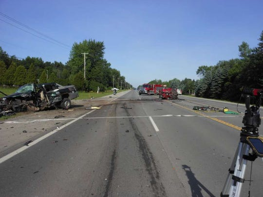 A photo from the scene of a three-vehicle crash on M-20 in Chippewa Township on June 30, 2019.