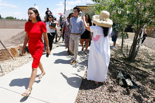 U.S. Rep. Alexandria Ocasio-Cortez, D-New York, walks to the front of the Clint Border Patrol station to talk about what she saw at area border facilities Monday, July 1, at the station in Clint.