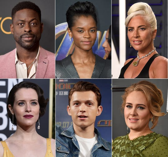 Top row from left, Sterling K. Brown, Letitia Wright, Lady Gaga, and bottom row from left, Claire Foy, Tom Holland and singer Adele, who are among 842 people invited to join the Academy of Motion Pictures Arts and Sciences on Monday, July 1, 2019.
