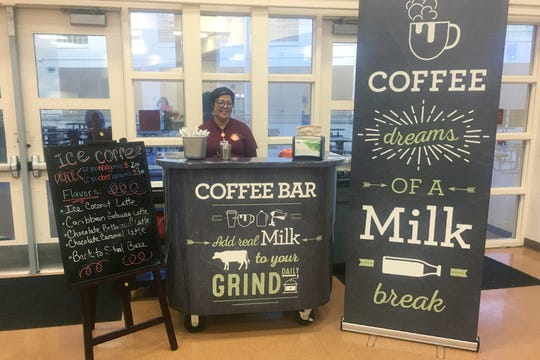 A coffee stand at Cypres Creek High School in Orlando, Fla. Orange County schools did not receive dairy industry grants for the coffee bars, but the local dairy council provided chalkboard-style signs and menus. ( via AP)