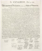 A high resolution image of an engraving of the Declaration of Independence downloaded from the National Archives website. (www.archives.gov)