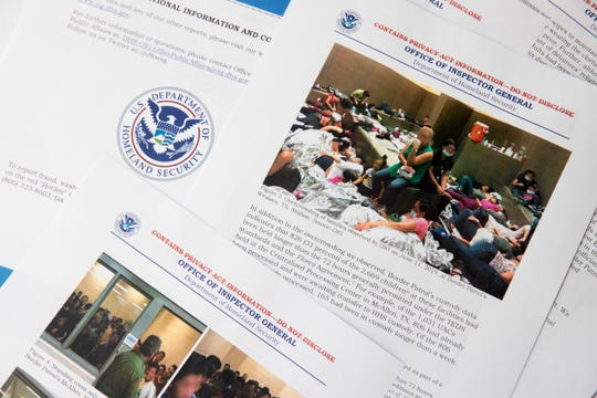 A portion of a report from government auditors reveals images of people penned into overcrowded Border Patrol facilities, photographed Tuesday, July 2, 2019, in Washington.