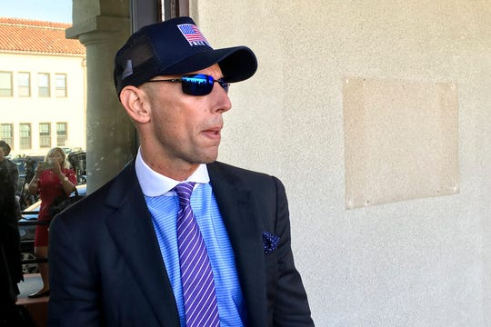 Marc Mukasey, defense lawyer for Navy Special Operations Chief Edward Gallagher, arrives to military court on Naval Base San Diego, Tuesday, July 2, 2019, in San Diego.