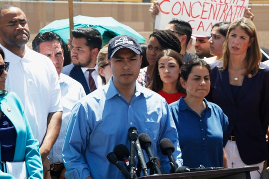 Rep. Joaquin Castro speaks alongside members of the Hispanic Caucus after touring inside of the Border Patrol station in Clint, Texas, Monday, July 1, 2019.