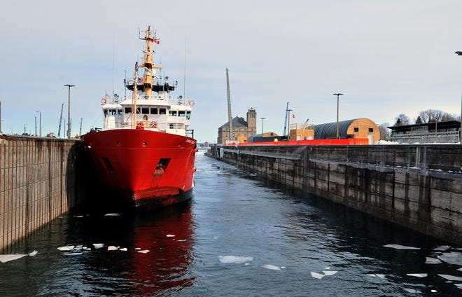 The Canadian cutter Samuel Risley ties up in the Poe Lock in Sault Ste. Marie in this Wednesday, March 21, 2018 photo.