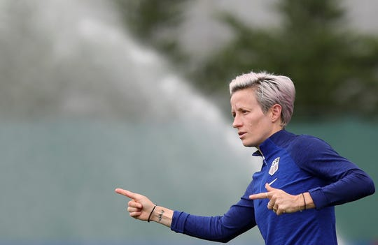 United States' Megan Rapinoe trains in Lyon, France, Monday, July 1, 2019. The U.S. faces England in a Women's World Cup semifinal match Tuesday in Lyon.