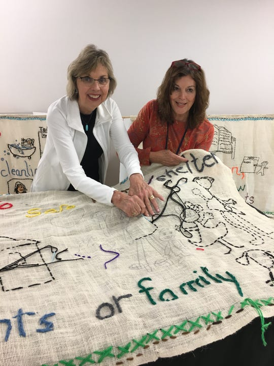 "Valerie Thibaudeau Graczyk of Fond du Lac, left, and her sister Yvonne Thibaudeau Moyer, of Miami, are bringing the ""BY YOU"" Tapestry to Fond du Lac later this month. Valerie Thibaudeau Graczyk"