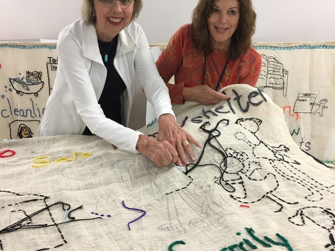 """Valerie Thibaudeau Graczyk of Fond du Lac, left, and her sister Yvonne Thibaudeau Moyer, of Miami, are bringing the """"BY YOU"""" Tapestry to Fond du Lac later this month. Valerie Thibaudeau Graczyk"""