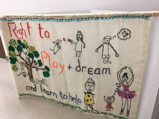 "The ""Right to Play, Dream and Learn to Help"" is one of the seven panels of the ""BY YOU"" Tapestry expected to visit Fond du Lac."