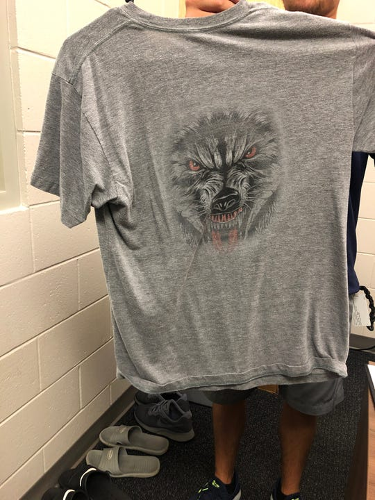 Back of Fort Myers Miracle 'On the Hunt' shirt, a reward of a bi-weekly competition that's prompted players to seek high-exit velocity and barreled balls.