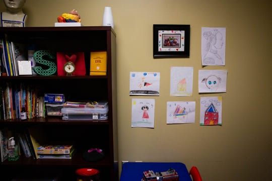 The office of Frances Sanchez-Duverge, where the postdoctoral psychology fellow uses art and other activities to work with children who have mental and behavioral health needs.