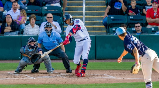 Minnesota Twins No. 1 prospect Royce Lewis making contact for the Fort Myers Miracle.