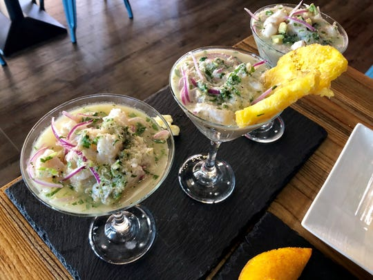 A trio of ceviches ($23.99) from The Llama's House. The three styles featured different garnishes, but each tasted about the same. Individual ceviches start at $12.99.