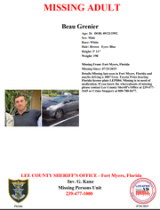 Beau Grenier was identified as the man found dead in an abandoned car in Fort Myers Monday evening.