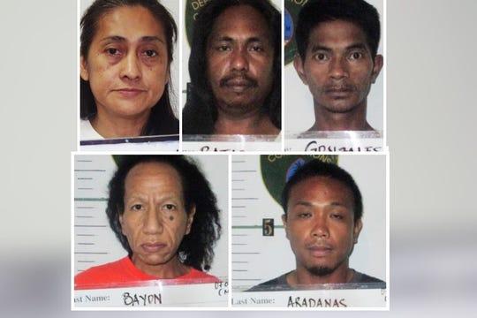 Top row: Madonna Maguflor, Miguelito Bataclan, Ramil Gonzales; Bottom row: Ronald Joy Bayon, Jeric Aradanas