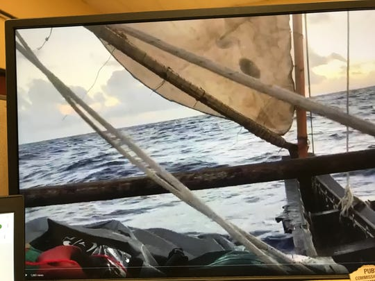 Raina Okada tweeted a video of the TASA canoe the Fanhigayan en route to Rota on June 1, 2019. The Fanhigayan called the Coast Guard for help but the crew from a different canoe was hoisted, TASA members said.
