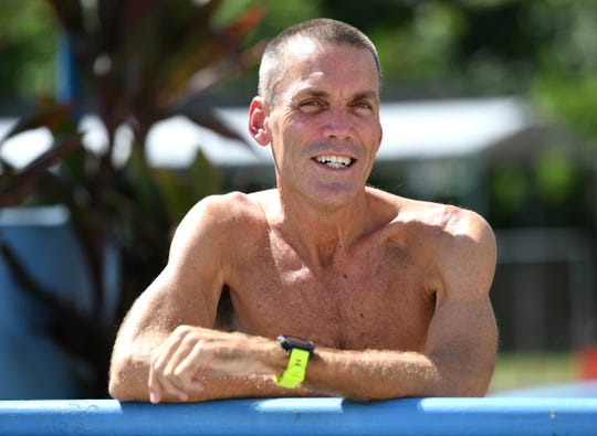 Triathlete Craig Weymouth just before swimming some training laps at the Hagåtña Pool on Tuesday, July 2, 2019. Weymouth is preparing to represent Guam during the 2019 Pacific Games in Samoa.
