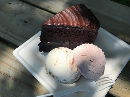 Dark chocolate layer cake with s'mores ice cream and strawberry ice cream, the latter made with fresh Indiana strawberries stirred into the blend of heavy cream and whole milk at Cone + Crumb. The ice cream shop opened June 25, 2019, at 205 Park St., Westfield.