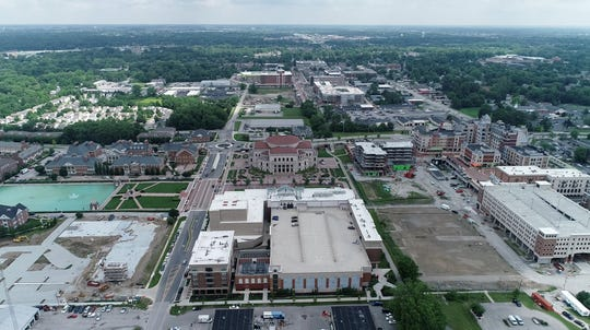 Aerial view of Carmerl City Center, the Palladium and Monon Greenway. Several buildings of phase II of the City Center project are expected to be completed in the next few year. July, 2019.