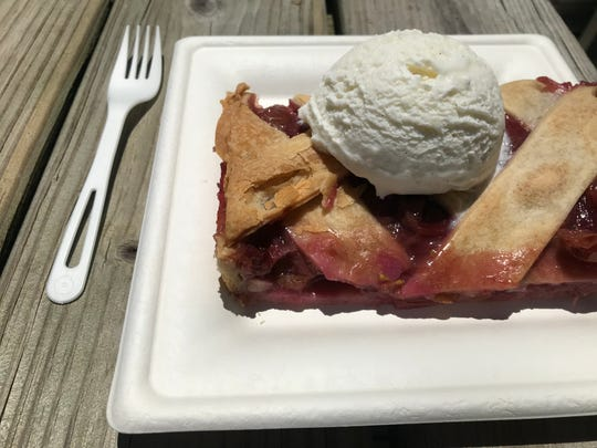 Old-fashioned grape pie is delectable with fluffy vanilla ice cream at Cone + Crumb. The ice cream shop opened June 25, 2019, at 205 Park St., Westfield.
