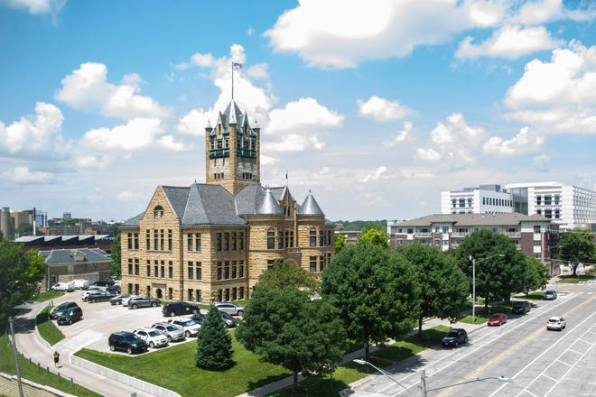 Johnson County Courthouse is pictured, Tuesday, July 2, 2019, from the fourth floor of the MidWestOne Bank building in Iowa City, Iowa.