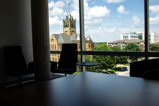 Johnson County Courthouse is pictured from the office of Janet Lyness, Tuesday, July 2, 2019, on the fourth floor of the MidWestOne Bank building in Iowa City, Iowa.