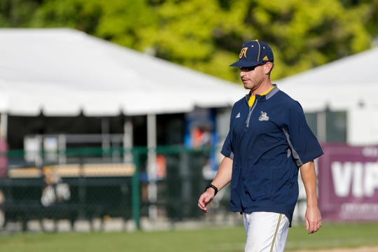 Lafayette Aviators manager Brent McNeil walks away from the mount during the first inning of a regular season prospect league baseball game, Monday, July 1, 2019 at Loeb Stadium in Lafayette.