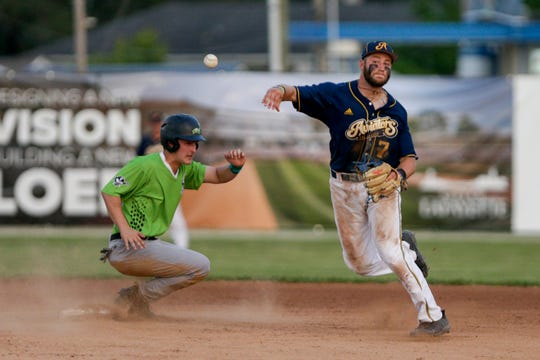 Lafayette Aviators short stop Braedon Blackford (7) throws to first as Springfield Sliders left fielder Jared Cantu (2) slides into second during the seventh inning of a regular season prospect league baseball game, Monday, July 1, 2019 at Loeb Stadium in Lafayette.