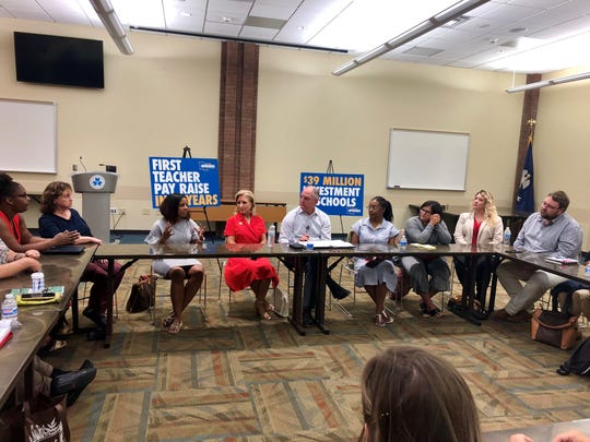 Gov. John Bel Edwards hears from educators from across Acadiana at the Lafayette Public Library Tuesday, July 2.