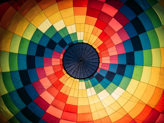 View inside colorful hot air balloon
