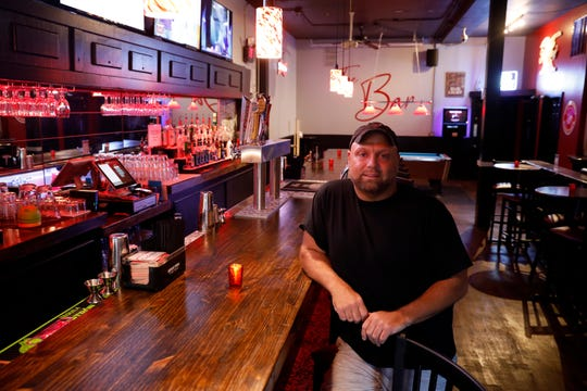 Wayne Marcum sits at the bar at The Bar 740 on North Columbus Street in Lancaster.